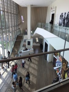 A powerful mural dominates the lobby atrium at the Center for Human and Civil Rights.