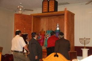 The Shaarei Shamayim sefer Torahs reach their new sanctuary.