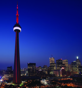 Photo by Tourism Toronto As night falls, downtown Toronto lights up.