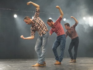 """Photo by Gadi Dagon Members of the Niv Sheinfeld & Oren Laor Dance Projects perform """"Cowboy,"""" which will have its U.S. premiere Nov. 3 at 7 Stages Theatre as part of the Exposed festival."""