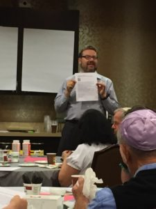 Rabbi Michael Bernstein discusses texts during the event Sept. 25. (Photo by Sue Chase)