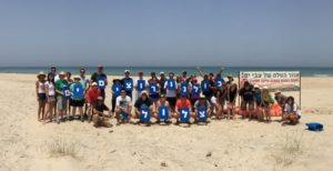 The Atlanta group participates in a beach cleanup project with the Zalul environmental organization near Tel Aviv.