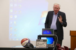 Larry Conley speaks to the Marcus JCC's Edgewise group Dec. 15. (Photo by David R. Cohen)
