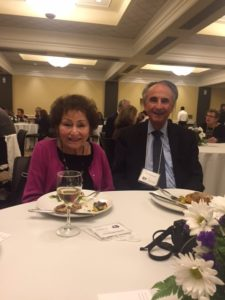 Shirley and Perry Brickman enjoy the scholarship and the kosher meal.