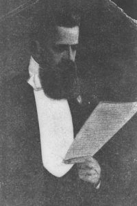 Theodor Herzl addresses the First Zionist Congress.