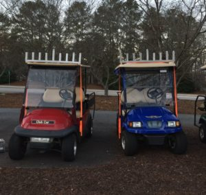 Two of seven carts are ready to roll in Chabad of Peachtree City's first golf cart menorah parade.