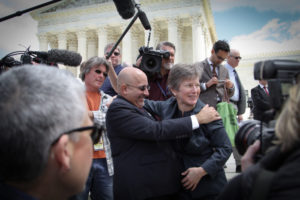 Evan Wolfson and Mary Bonauto celebrate victory at the Supreme Court in June 2015.
