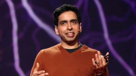 Salman Khad addresses the TED conference in 2011 (photo credit: CC-BY Steve Jurvetson, Wikipedia)