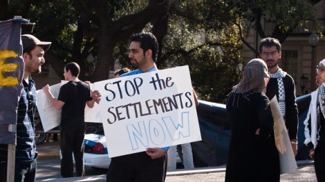 Israel Apartheid Week activists at the University of Texas, Austin (photo credit: CC BY monad68, Flickr)