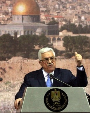 A forecast of what's to come. Mahmoud Abbas addresses Palestinian leaders (photo credit: Issam Rimawi/Flash90)