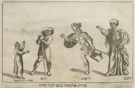 Illustration of the Four Sons in the 1695 Amsterdam Haggadah