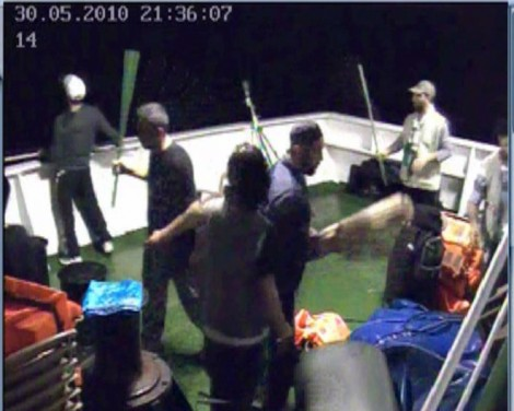 Footage taken from the Mavi Marmara security cameras, showing activists preparing for an attack against IDF soldiers (photo credit: IDF Spokesperson/Flash90)