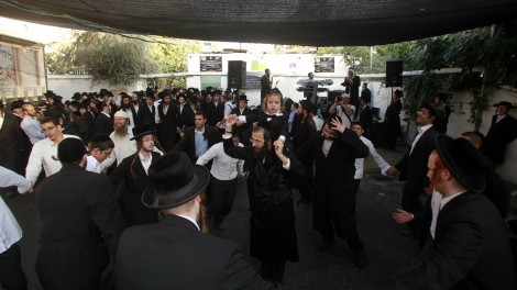 Jewish revelers at the Tomb of Simeon the Just in Jerusalem (photo credit: Uri Lenz/Flash90)