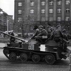 Soviet paratroopers on a light tank in downtown Prague during the Prague Spring in 1968 (photo credit: public domain via Wikipedia)