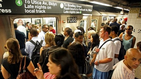 Jostling for position in the New York subway
