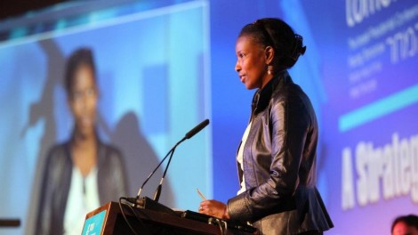 Ayaan Hirsi Ali addresses the crowd during her Presidential Conference plenary session (photo credit: ShiloPro)