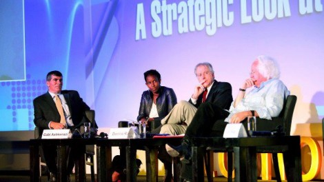 Ayaan Hirsi Ali (second from left) participates in a panel at the 2012 Presidential Conference with (from left) Gabi Ashkenazi, Dennis Ross and Leon Wieseltier (photo credit: courtesy Shilo Pro