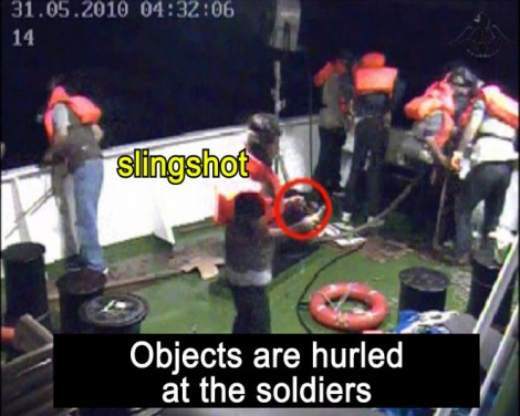 Too little, too late? Footage taken from the Mavi Marmara security cameras and annotated by the IDF Spokesperson's Office was held for hours after news of the incident broke in Europe. (photo credit: IDF Spokesperson/Flash90)