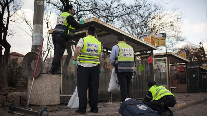 The scene of the Jerusalem bombing reported by Reuters and the BBC. No, the bus stop was not the actual target (photo credit: Matanya Tausig/Flash90)