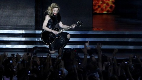 Madonna performs for adoring fans at the Ramat Gan stadium near Tel Aviv, Thursday (photo credit: Flash90)