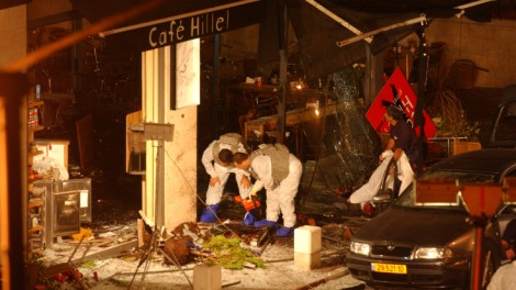 The aftermath of the Cafe Hillel suicide bombing on September 9, 2003 (photo credit: Flash90)
