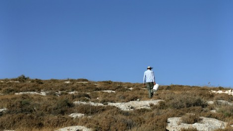 A Jewish settler walks up the hill, at the Yeshuv Hada'at Jewish outpost  near Shilo in the West Bank (photo credit: Kobi Gideon/Flash90)