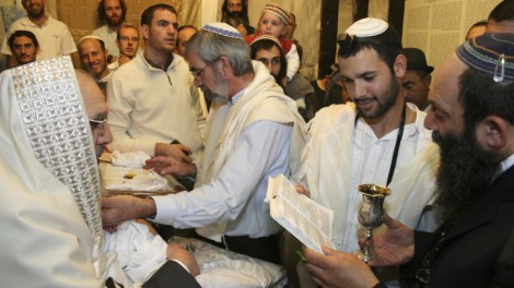 A rite of passage and a basic human right. A circumcision ceremony in the Cave of the Patriarchs in Hebron (photo credit: Gershon Elinson/Flash90)