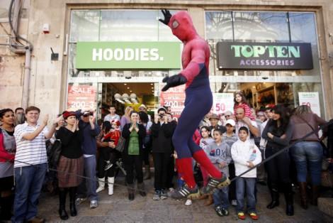 'Even Spiderman is Jewish.' (photo credit: Miriam Alster/Flash90)