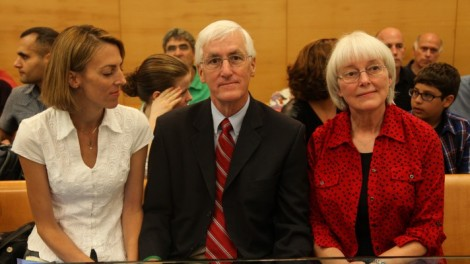 Cindy and Craig Corrie, Rachel Corrie's parents, sit with their daughter Sarah in the courtroom, Tuesday (photo credit: Shaar Yashuv/Flash90)