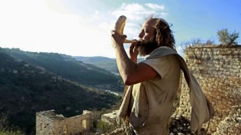 Blowing the shofar in the town of Lifta, near Jerusalem (photo credit: Uri Lenz/Flash90)