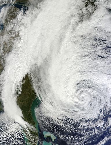 Hurricane Sandy off the Carolina coast on Sunday (photo credit: CC BY NASA)