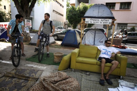 Young Israelis protest the high price of housing in a 'tent city' on Rothschild Boulevard in Tel Aviv, summer 2011 (Miriam Alster/Flash90)