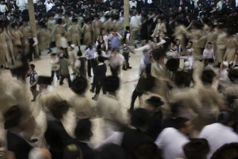 Simhat Beit Hashoeva celebrations at the Toldot Avraham Yeshiva in Mea Shearim, Jerusalem, Sukkot 2012 (photo credit: Yonatan Sindel/Flash90)