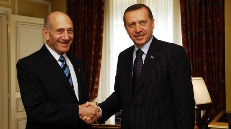 Turkish Prime Minister Recep Tayyip Erdogan in 2008, with then-Israeli prime minister Ehud Olmert. has the times come for reconciliation? (photo credit: Avi Ohayon/GPO/Flash90)