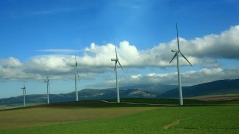 Wind turbines in Spain (photo credit: Chen Leopold/Flash90)