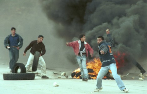 Clashes in Ramallah during the first intifada (photo by Nati Shohat/Flash90)