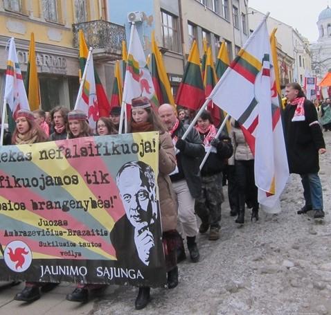 Neo-Nazis march in Kaunus, Lithuania, February 16, 2013 (photo: Dovid Katz)