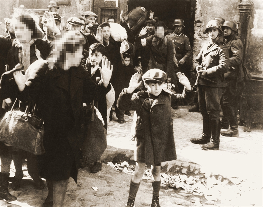 Bakehila weekly applied digitization and cropping similar to the above to obscure faces of women and girls (illustrative image, from detail of the famous photo from Jürgen Stroop's report to Heinrich Himmler from May 1943)