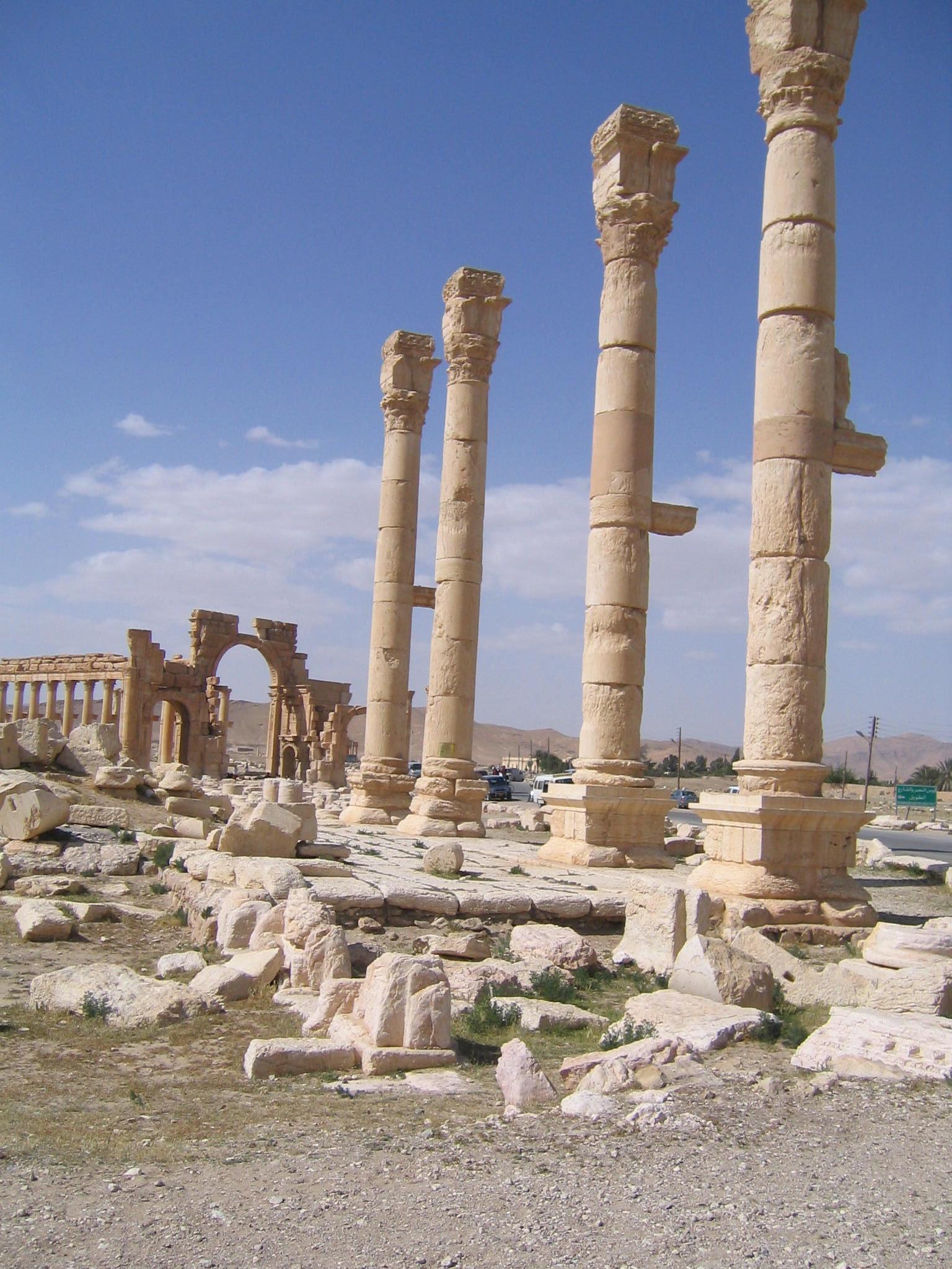 Restoration work underway in 2004 in Palmyra, Syria