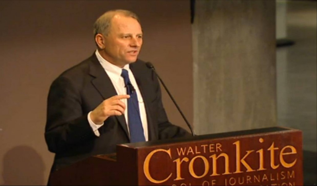 Jeff Fager, CBS News chairman speaking at the Walter Cronkite School of Journalism and Mass Communication at Arizona State University in 2012 (image: video screen shot)