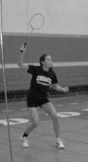 Suzanne Greene playing badminton. (Photo credit: courtesy)