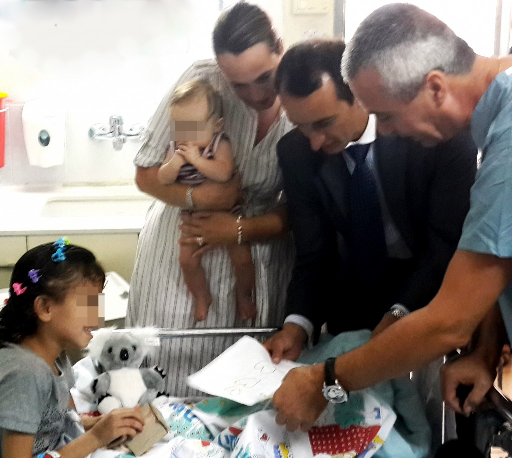 Ambassador Sharma visiting Ziv Hospital, along with his wife and baby on Tuesday, August 17, 2013