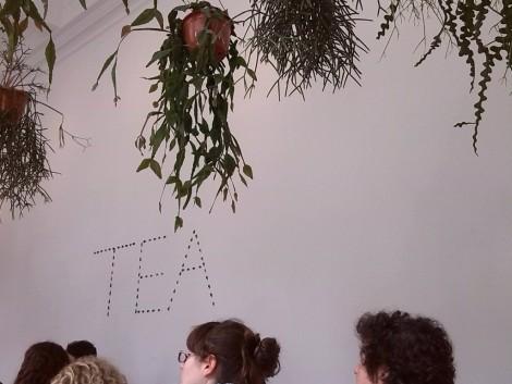 "Tea sign from ""English Magic"" 2013 by Jeremy Deller, mixed media. Photo by Ahuva Passow-Whitman"