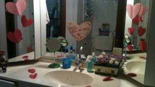 A bathroom full of hearts