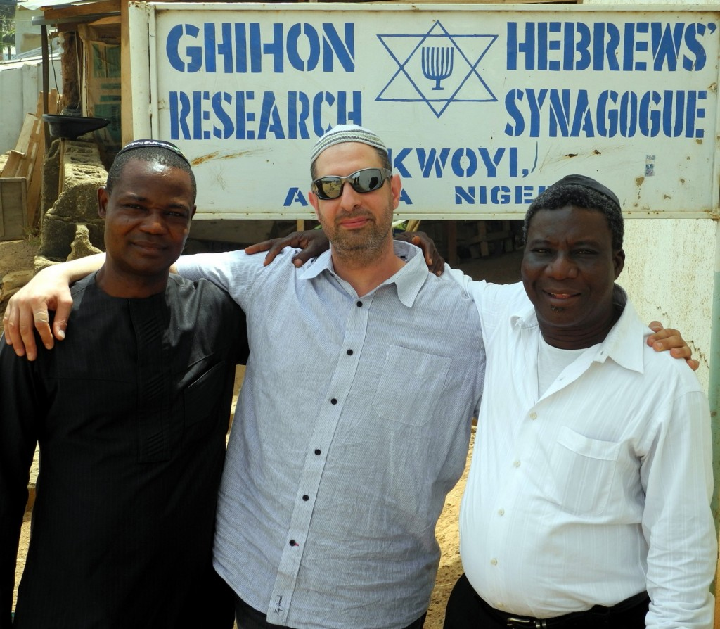 (Left to right) Ariel Ngene, Shai Afsai and Elder Pinchas Ogbukaa outside Gihon Synagogue in Abuja, Nigeria (Photo credit: Shai Afsai)