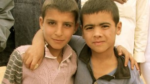 Two young Syrian refugees in Mafraq. (photo credit: Debra Kamin)