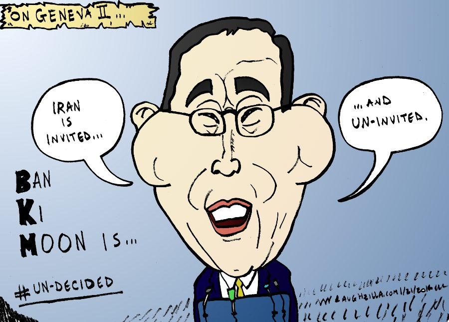 iran are un-invited to geneva two - by ban ki moon - editorial cartoon by laughzilla from jan. 21, 2014