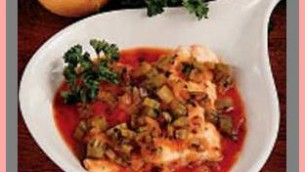 Baked Walleye with Vegetables Tomato Sauce