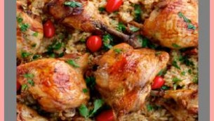 Lemon Chicken on Rice with a Lemon and Tomato Olive Sauce
