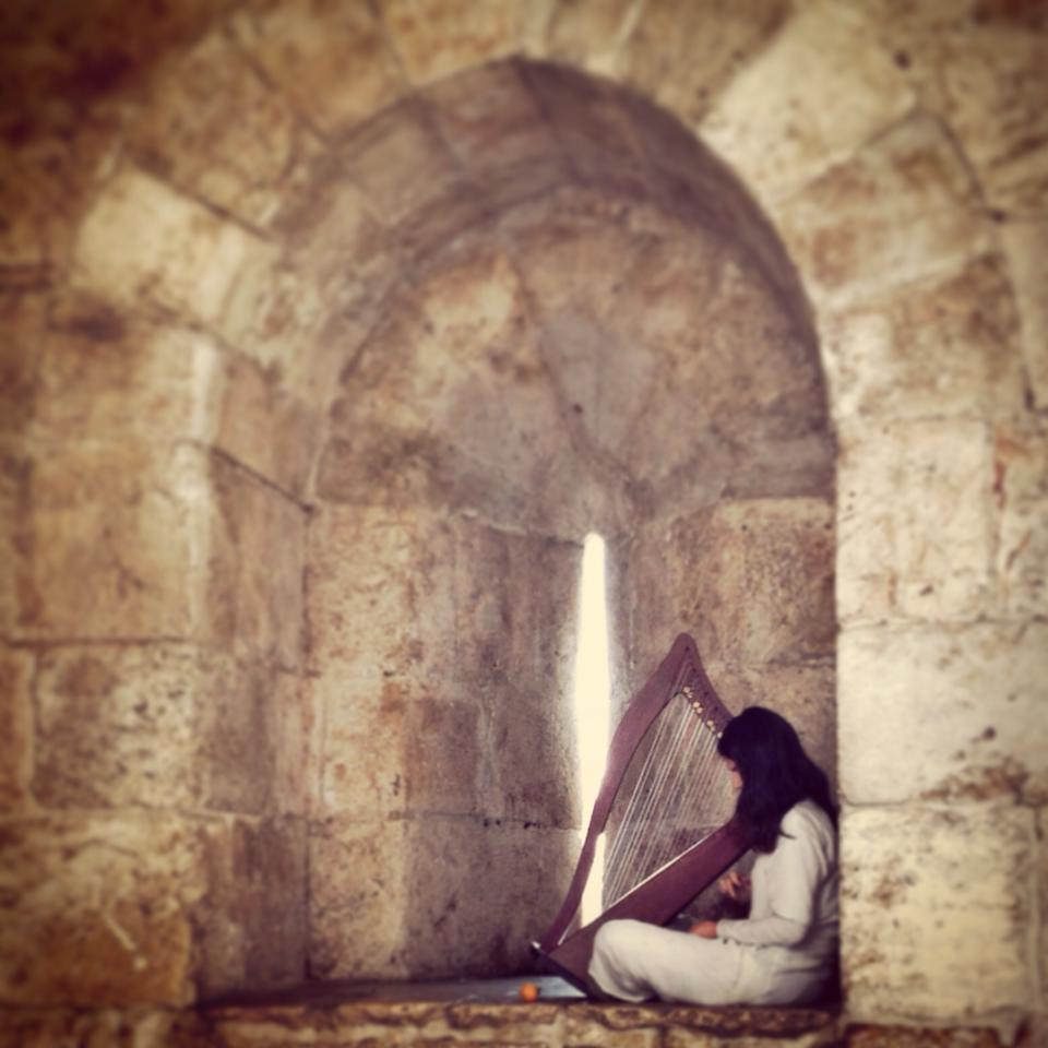 An angel plays the harp just inside of Jaffa Gate.  Photo by Sarah Tuttle-Singer